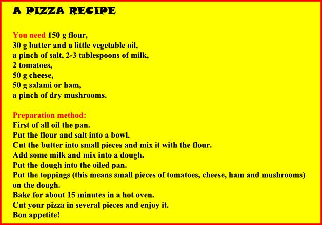 Рецепт на английском с переводом