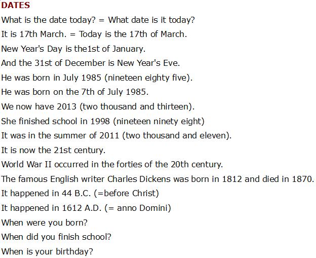числа по-английски, даты по-английски