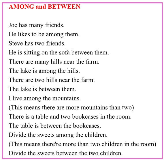 Топики по темам: among and between