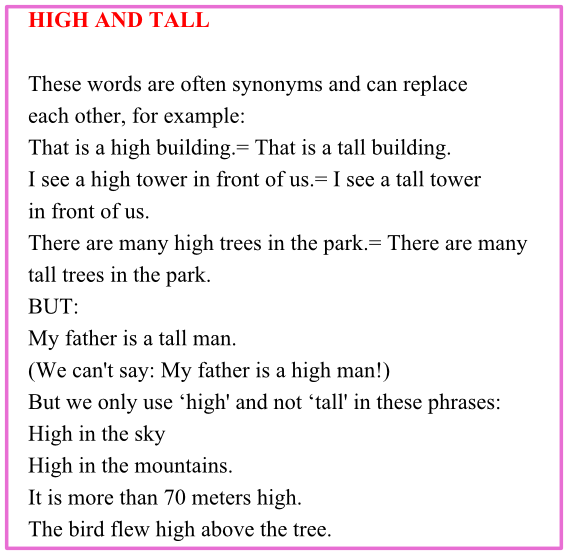 Топики по темам: high and tall