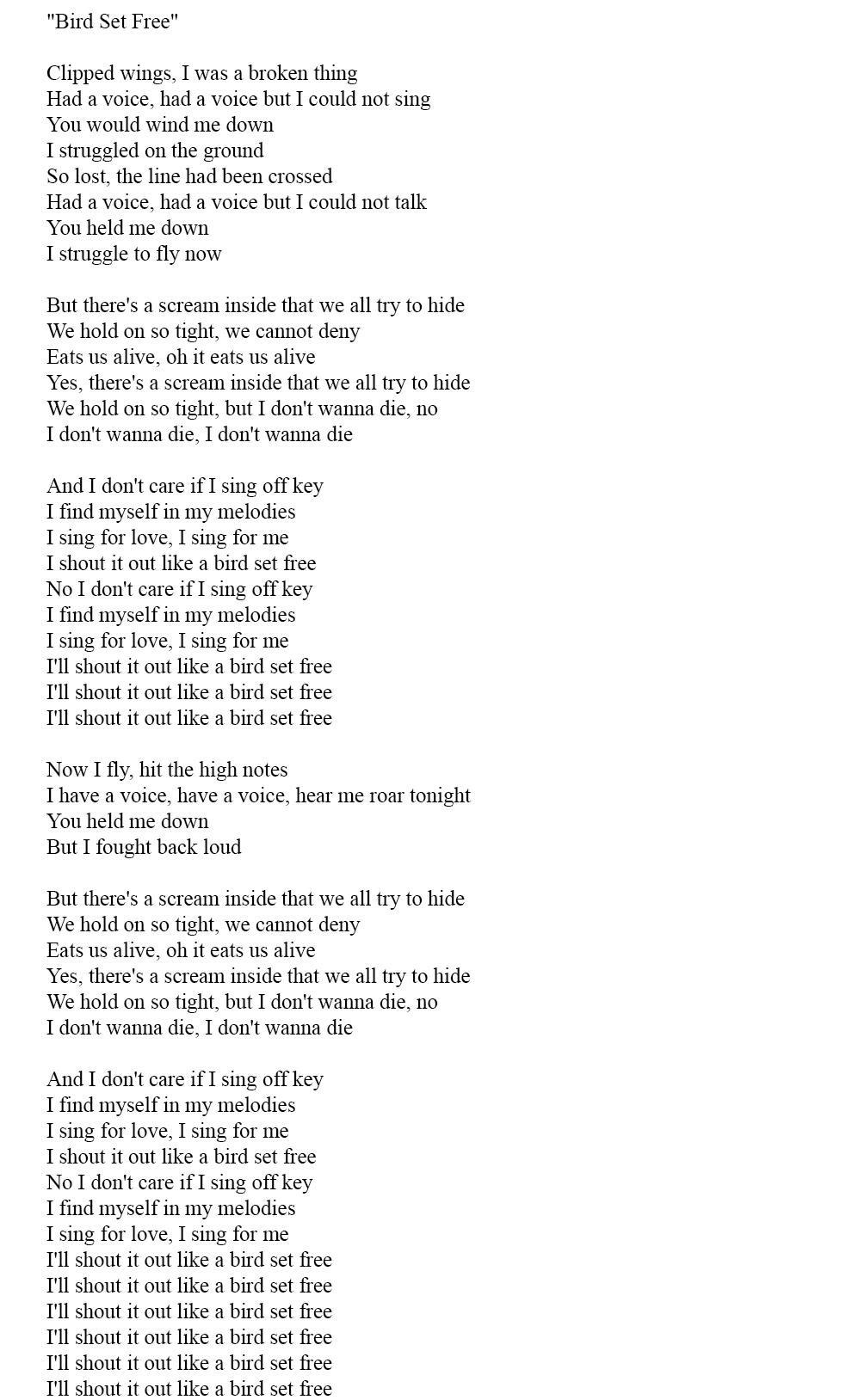Тексты английских песен 2015 - Sia - bird set free