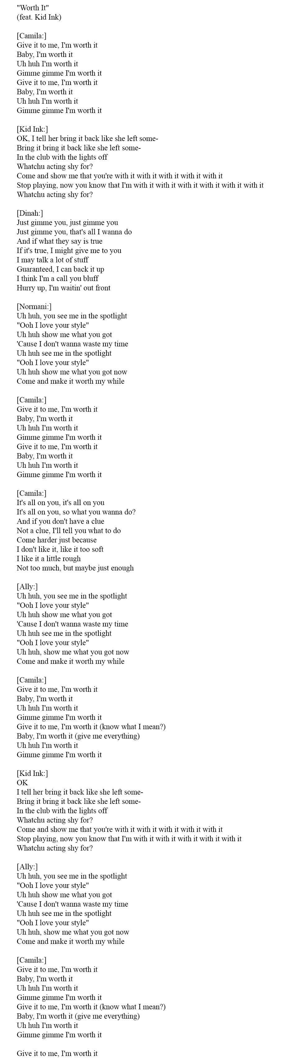 Тексты английских песен 2015 - Worth it