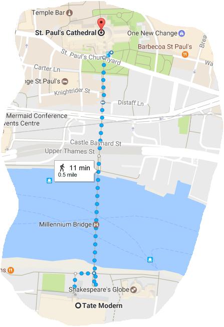 Как добраться от Tate Modern до Saint Paul Cathedral