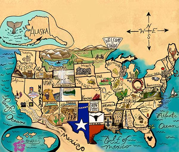 Америка, карта, дизайнер Morgan Bussy