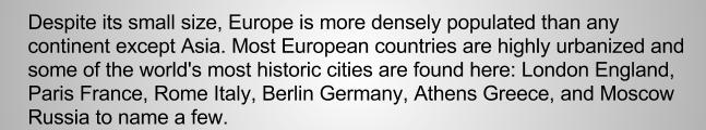 Европа - города, английский текст