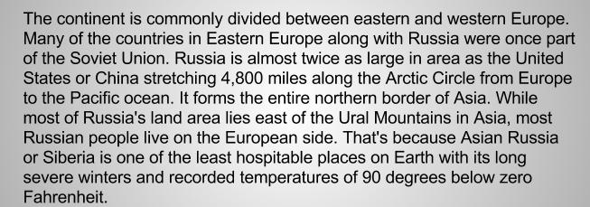 Западная и Восточная Европа английский текст