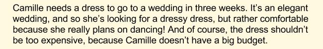 Покупка платья, английский текст, часть 1
