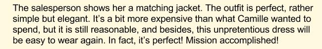 Покупка платья, английский текст, часть 6
