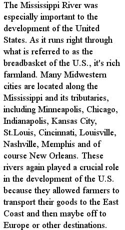 америка - реки, текст на английском