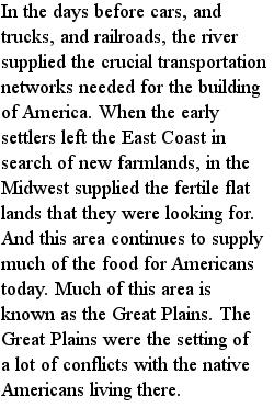 америка - Средний Запад, текст на английском