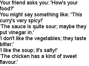 Вкус еды на английском