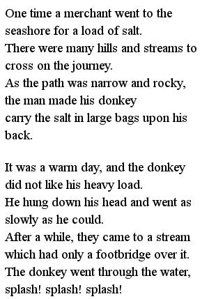 Простые тексты для детей - Donkey and the salt 1 часть