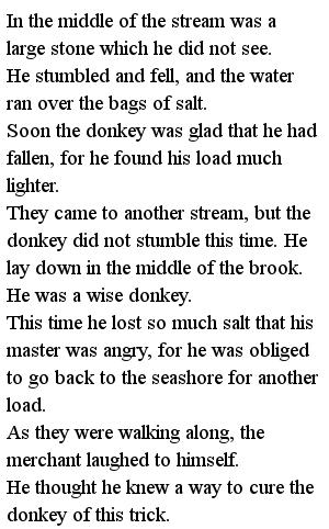 Простые тексты для детей - Donkey and the salt 2 часть