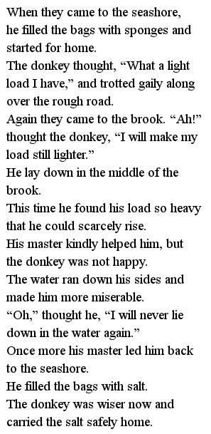Простые тексты для детей - Donkey and the salt 3 часть