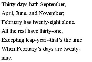 Стишки на английском для детей - The Days of the Months