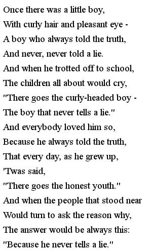 Стихи на английском для детей - The boy tells truth