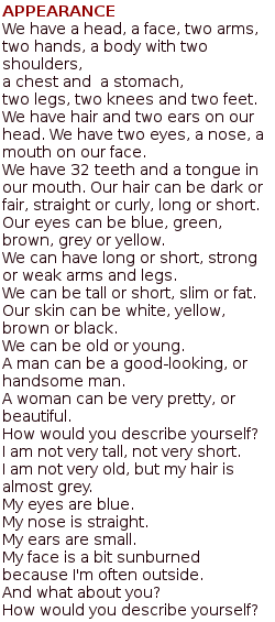 Тексты на английском языке для начинающих - внешность