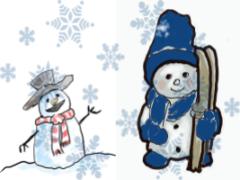 Snowfall, snowflakes, snowman