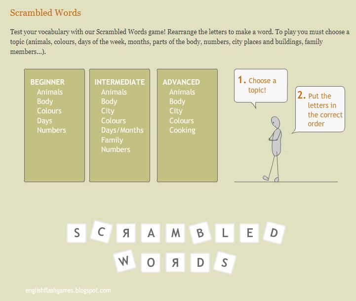 Игры для изучения английского - игра scrambled words