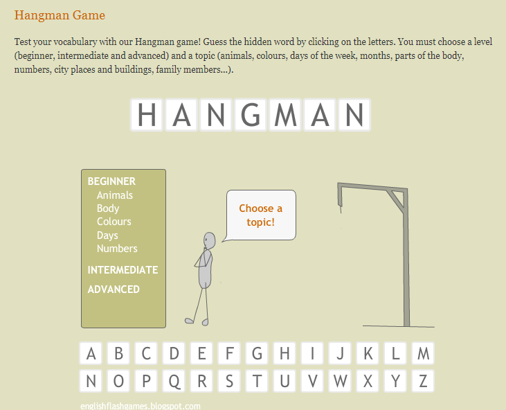 Игры для изучения английского - игра виселица на английском