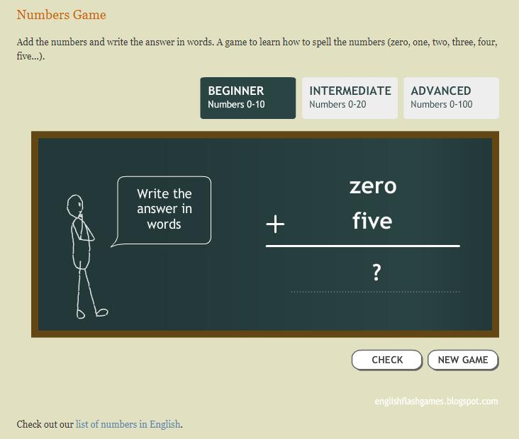 Игры для изучения английского - игра на написание чисел на английском