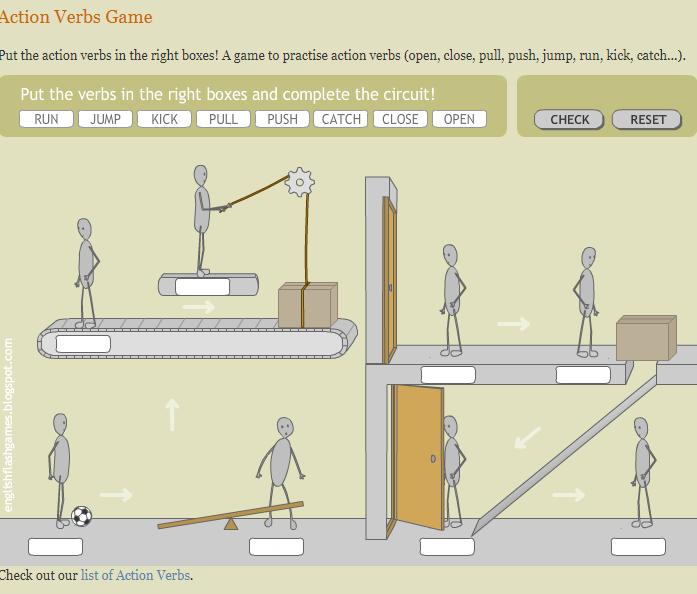 Игры для изучения английского - игра на глаголы действия